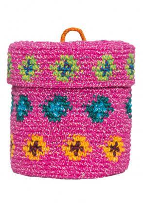 Ethno Aufbewahrungskorb pink, mit Deckel