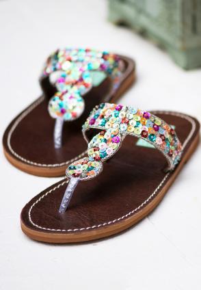 Pailletten Flip-Flops Regenbogen