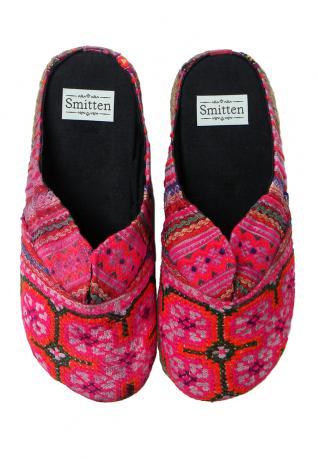 Ethno Pantoffeln pink mit Blume