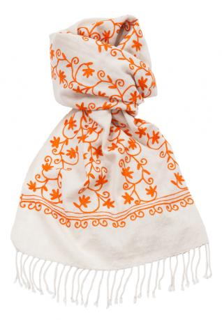 Ethno Schal Mumbai creme-orange