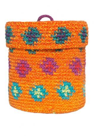 Ethno Aufbewahrungskorb orange, mit Deckel