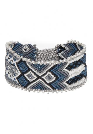 Ethno Armband Indian Knots silver blue