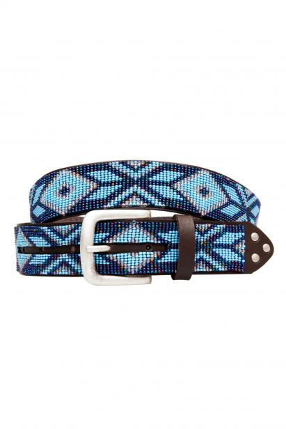 Ethno Perlengürtel Navajo Classic Blue